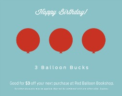 Red Balloon Birthday Bucks