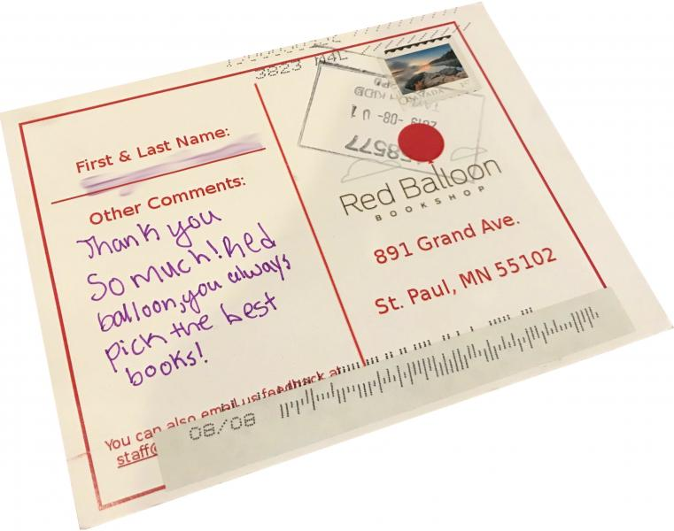 "Received postcard with text: ""Thank you so much! Red balloon, you always pick the best books!"""